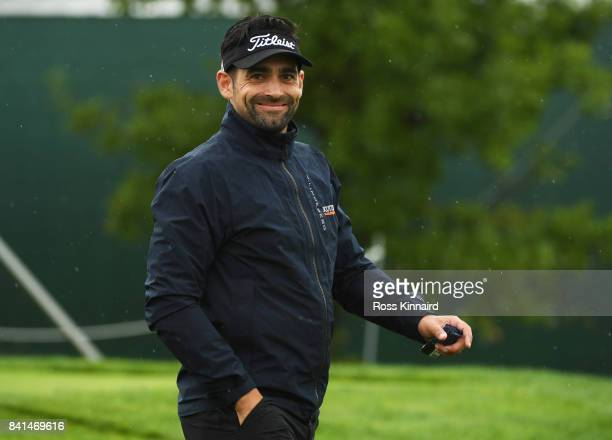 Lee Slattery of England smiles as he walks off the 1st tee during day two of the DD REAL Czech Masters at Albatross Golf Resort on September 1 2017...