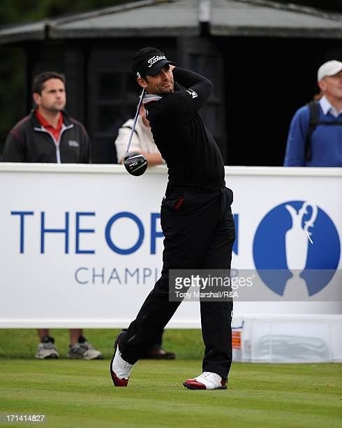 Lee Slattery of England tees off on the 1st tee of the New Course during The Open Championship International Final Qualifying Europe at Sunningdale...