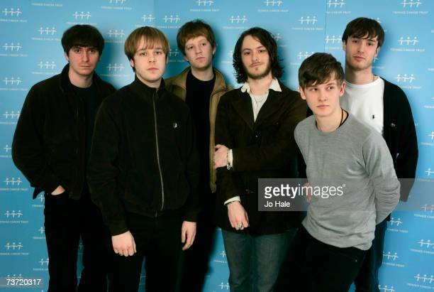 Lee Southall James Skelly Ian Skelly Bill RyderJones Paul Duffy and Nick Duffy of The Coral pose backstage on the second night of a series of...