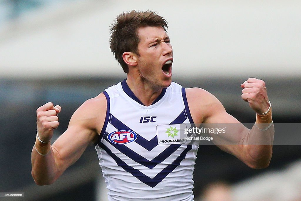 Lee Spurr of the Dockers celebrates a goal during the round 13 AFL match between the Richmond Tigers and the Fremantle Dockers at Melbourne Cricket Ground on June 14, 2014 in Melbourne, Australia.