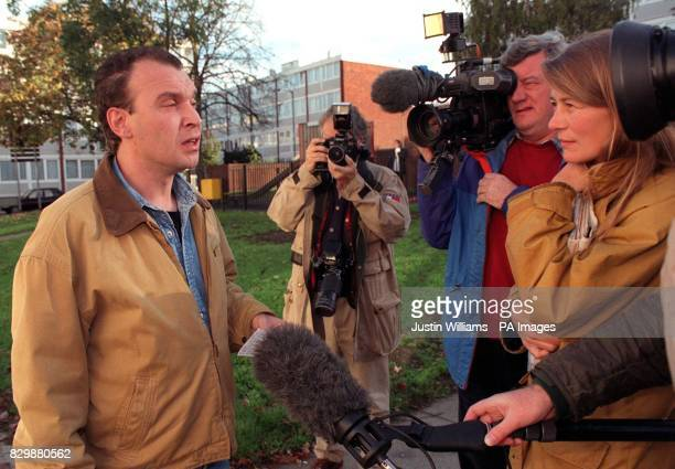 Lee Stagg the brother of Colin Stagg reads a statement to reporters in Roehampton southwest London about the publication of alleged evidence from his...