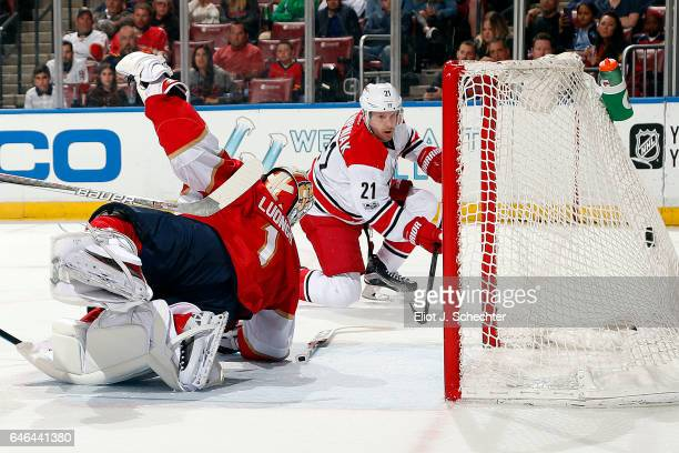 Lee Stempniak of the Carolina Hurricanes scores a goal on Goaltender Roberto Luongo of the Florida Panthers at the BBT Center on February 28 2017 in...