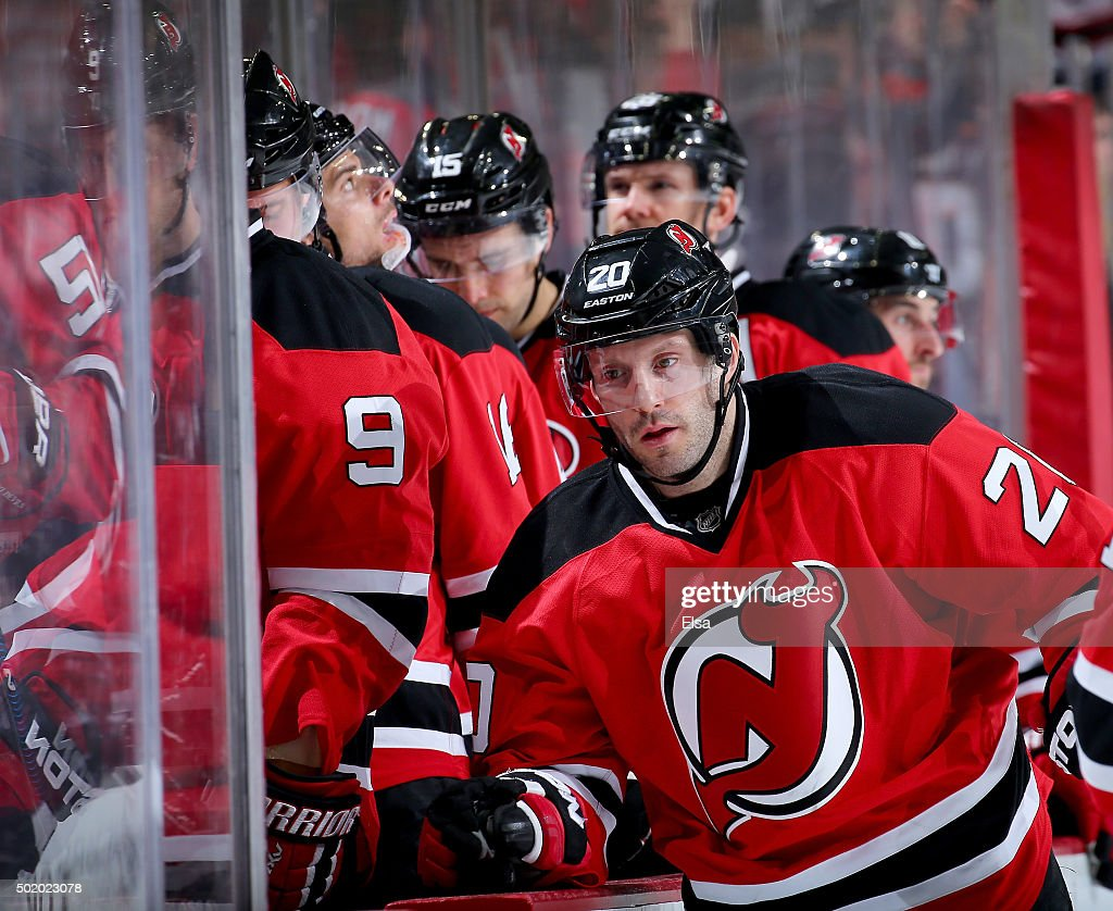 Lee Stempniak #20 of the New Jersey Devils and the rest of his teammates react to the loss to the Anaheim Ducks on December 19, 2015 at Prudential Center in Newark, New Jersey.The Anaheim Ducks defeated the New Jersey Devils 2-1.