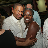 Lee Summers and actress/singer Lillias White pose for photographs following her 65th birthday concert celebration at The Triad Theater on July 22...