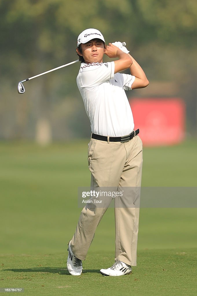 Lee Sung of Korea plays a shots during day 3 of the Avantha Masters at Jaypee Greens Golf Course on March 16, 2013 in Noida, India.