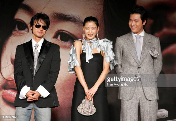 Lee SungJae and Jun JiHyun and Jung WooSung during 10th Pusan International Film Festival 'A Night with Daisy' Photocall at Westin Chosun Hotel in...