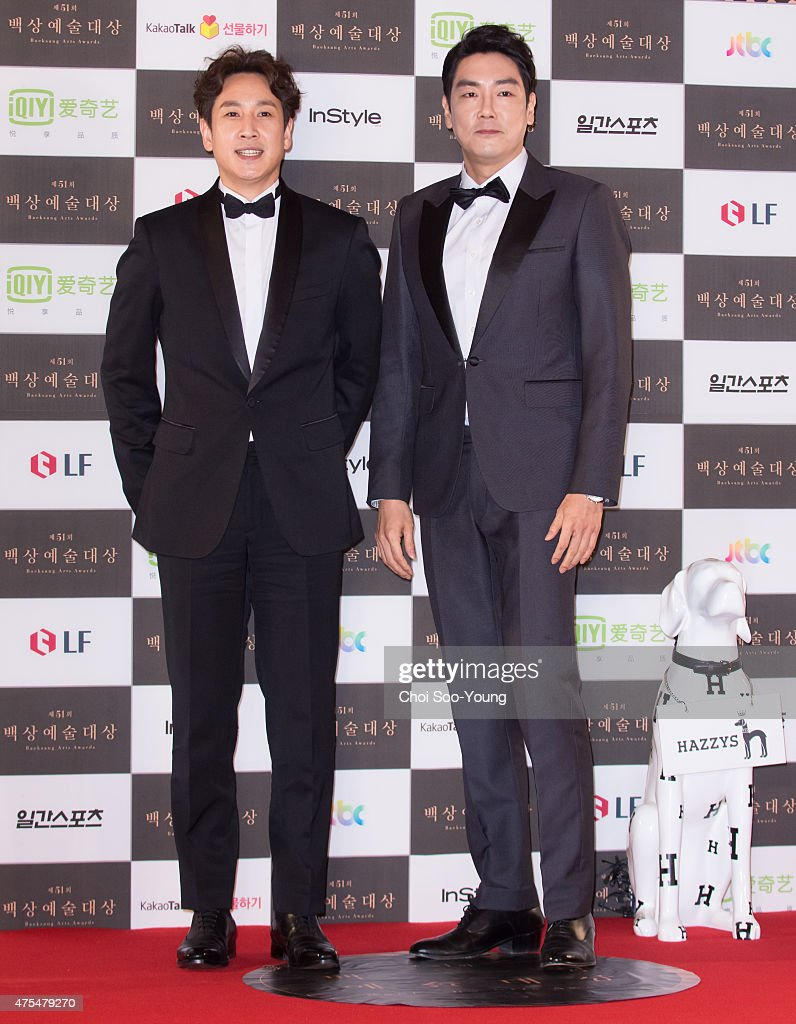 <a gi-track='captionPersonalityLinkClicked' href=/galleries/search?phrase=Lee+Sun-Kyun&family=editorial&specificpeople=4682222 ng-click='$event.stopPropagation()'>Lee Sun-Kyun</a> and Jo Jin-Woong attend the 51st Baeksang Arts Awards at Grand Peace Palace in Kyung Hee University on May 26, 2015 in Seoul, South Korea.