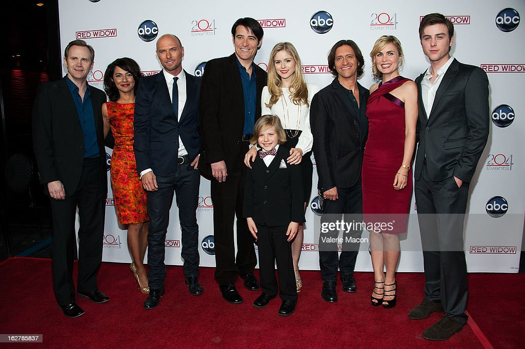Lee Tergesen, Suleka Mathew, Luke Goss, Goran Visnjic, Erin Moriarty, Jakob Salvati, Clifton Collins, Radha Mitchell and Sterling Beaumon attends ABC's 'Red Widow' Red Carpet Event at Romanov Restaurant Lounge on February 26, 2013 in Studio City, California.