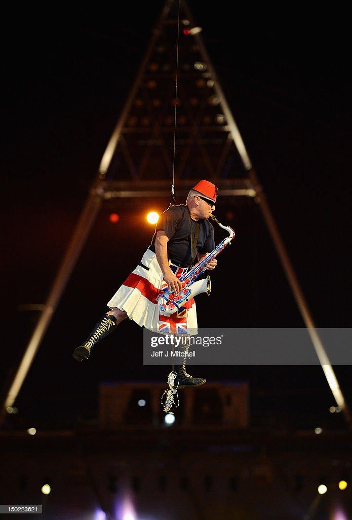 Lee Thompson of Madness performs during the Closing Ceremony on Day 16 of the London 2012 Olympic Games at Olympic Stadium on August 12, 2012 in London, England.