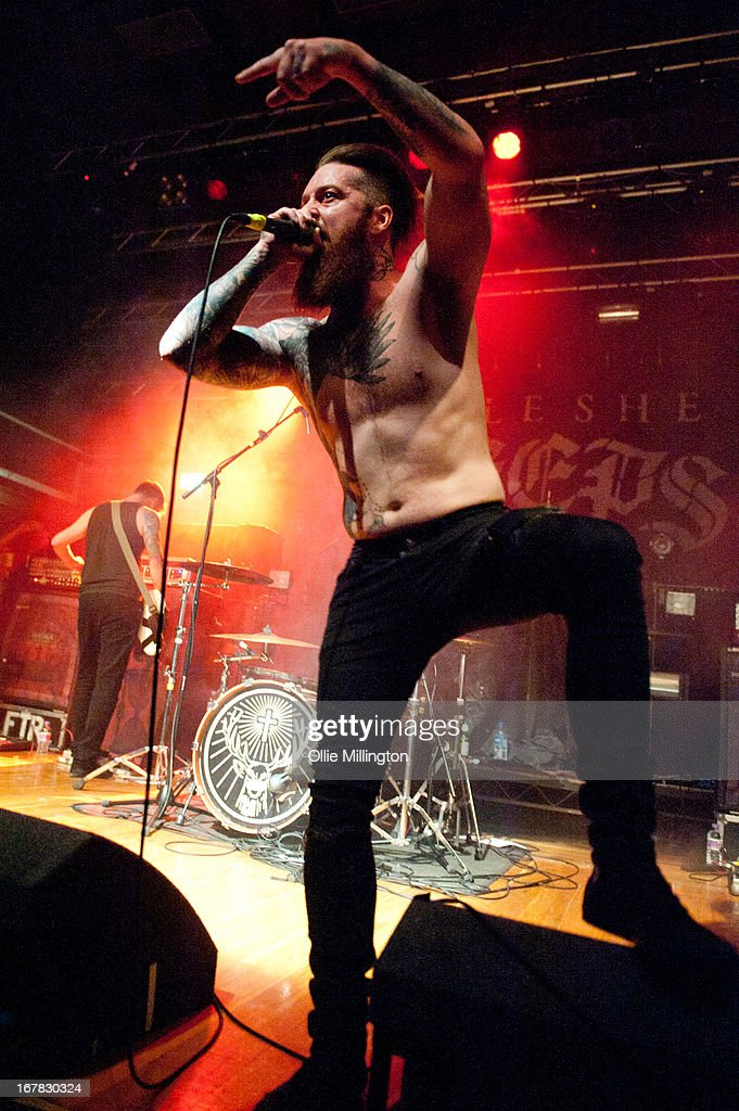 Lee Tobin of Feed The Rhino performs on stage during a night of the Reunite April / May 2013 tour at o2 Academy on April 30, 2013 in Leicester, England.