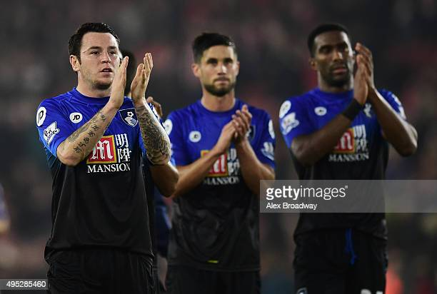 Lee Tomlin of AFC Bournemouth acknowledges the crowd after the Barclays Premier League match between Southampton and AFC Bournemouth at St Mary's...
