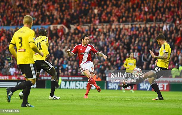 Lee Tomlin of Middlesbrough scores their first goal during the Sky Bet Championship Playoff semi final second leg match between Middlesbrough and...