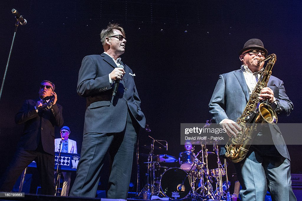 Lee Tompson and Chas Smash from Madness perform at L'Olympia on September 16, 2013 in Paris, France.