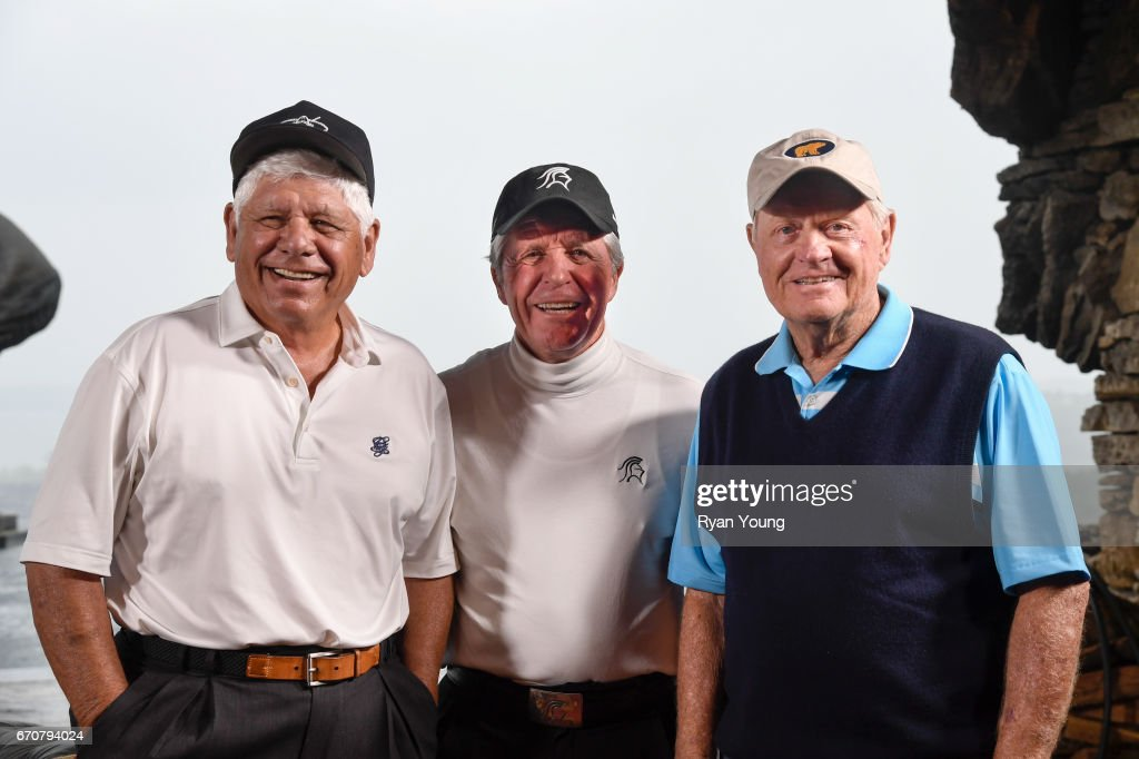 Lee Trevino, Gary Player, and Jack Nicklaus pose for a photograph during a press conference following practice for the PGA TOUR Champions Bass Pro Shops Legends of Golf at Big Cedar Lodge at Top of the Rock on April 20, 2017 in Ridgedale, Missouri.