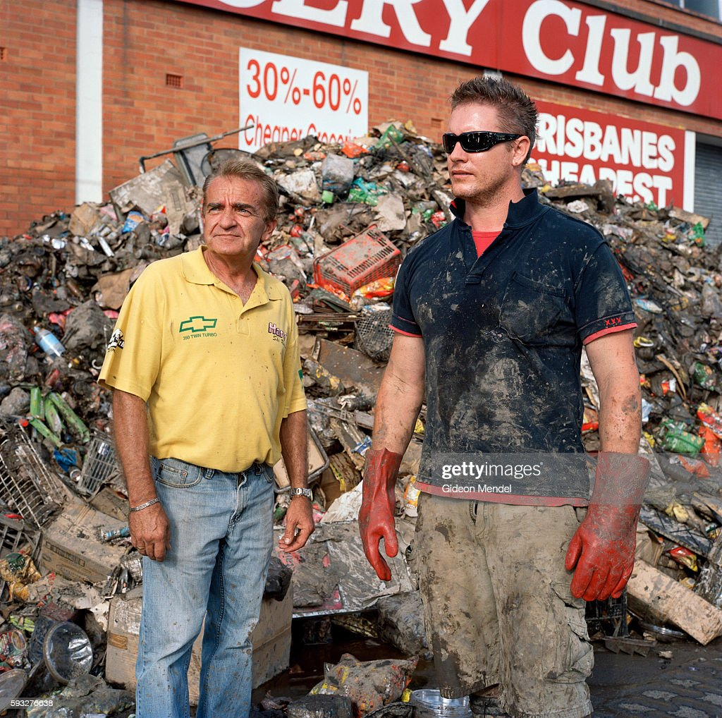 Lee Turner with his business partner Ralphe Keithke outside their business The Grocery Club in Rocklea which was inundated by floodwaters We thought...