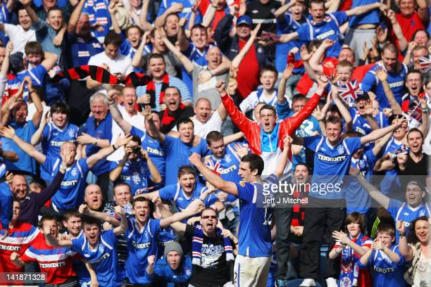 Lee Wallace of Rangers celebrates after scoring during the Scottish Clydesdale Bank Scottish Premier League match between Rangers and Celtic at Ibrox...