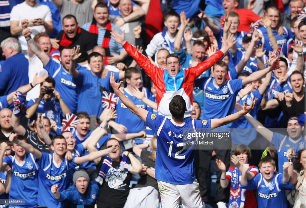 Lee Wallace of Rangers celebrates after scoring his team's third goal during the Scottish Clydesdale Bank Scottish Premier League match between Rangers and Celtic at Ibrox Stadium on March 25, 2012 in Glasgow, Scotland.