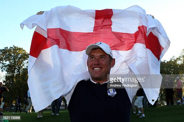 Lee Westwood celebrates after Europe defeated the USA 145 to 135 to retain the Ryder Cup during the Singles Matches for The 39th Ryder Cup at Medinah...