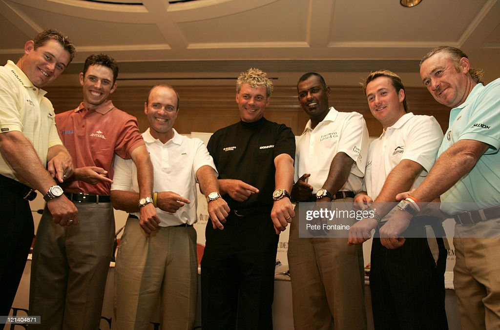 <a gi-track='captionPersonalityLinkClicked' href=/galleries/search?phrase=Lee+Westwood&family=editorial&specificpeople=171611 ng-click='$event.stopPropagation()'>Lee Westwood</a>, <a gi-track='captionPersonalityLinkClicked' href=/galleries/search?phrase=Charl+Schwartzel&family=editorial&specificpeople=213793 ng-click='$event.stopPropagation()'>Charl Schwartzel</a>, <a gi-track='captionPersonalityLinkClicked' href=/galleries/search?phrase=Thomas+Levet&family=editorial&specificpeople=203326 ng-click='$event.stopPropagation()'>Thomas Levet</a>, <a gi-track='captionPersonalityLinkClicked' href=/galleries/search?phrase=Darren+Clarke&family=editorial&specificpeople=171309 ng-click='$event.stopPropagation()'>Darren Clarke</a>, <a gi-track='captionPersonalityLinkClicked' href=/galleries/search?phrase=Vijay+Singh&family=editorial&specificpeople=179484 ng-click='$event.stopPropagation()'>Vijay Singh</a>, Graeme MacDowell and <a gi-track='captionPersonalityLinkClicked' href=/galleries/search?phrase=Miguel+Angel+Jimenez&family=editorial&specificpeople=171700 ng-click='$event.stopPropagation()'>Miguel Angel Jimenez</a>