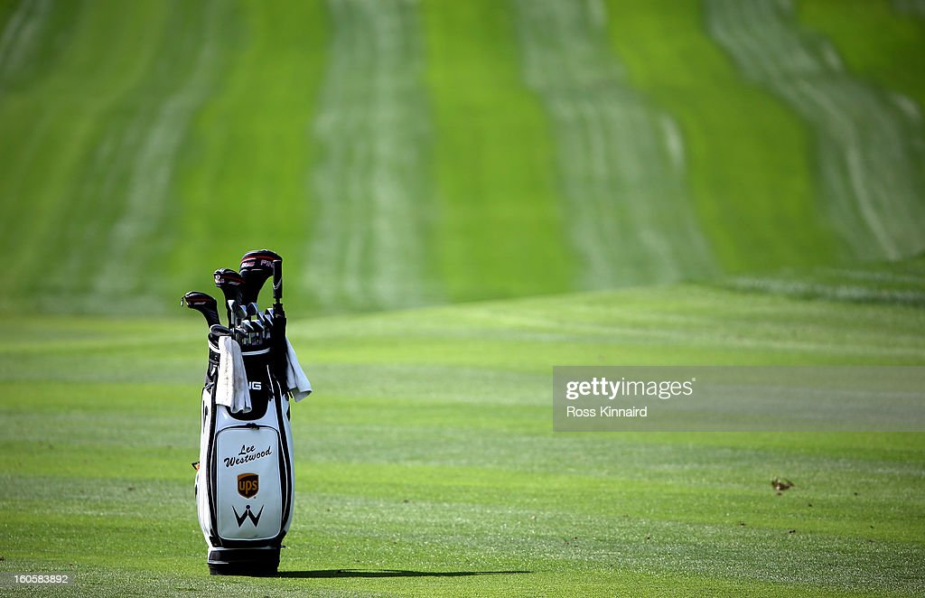 Lee Westwood golf bag during the final round of the Omega Dubai Desert Classic on February 3, 2013 in Dubai, United Arab Emirates.