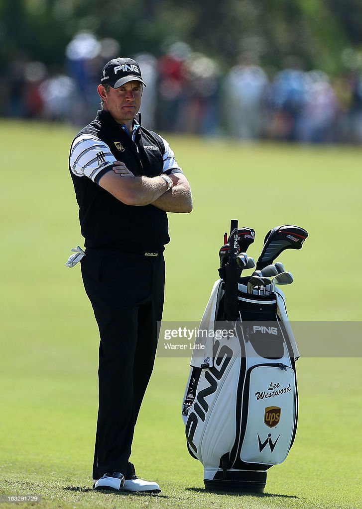 Lee Westwood hits waits on the tenth hole during the first round of the WGC-Cadillac Championship at the Trump Doral Golf Resort & Spa in Miami, Florida.