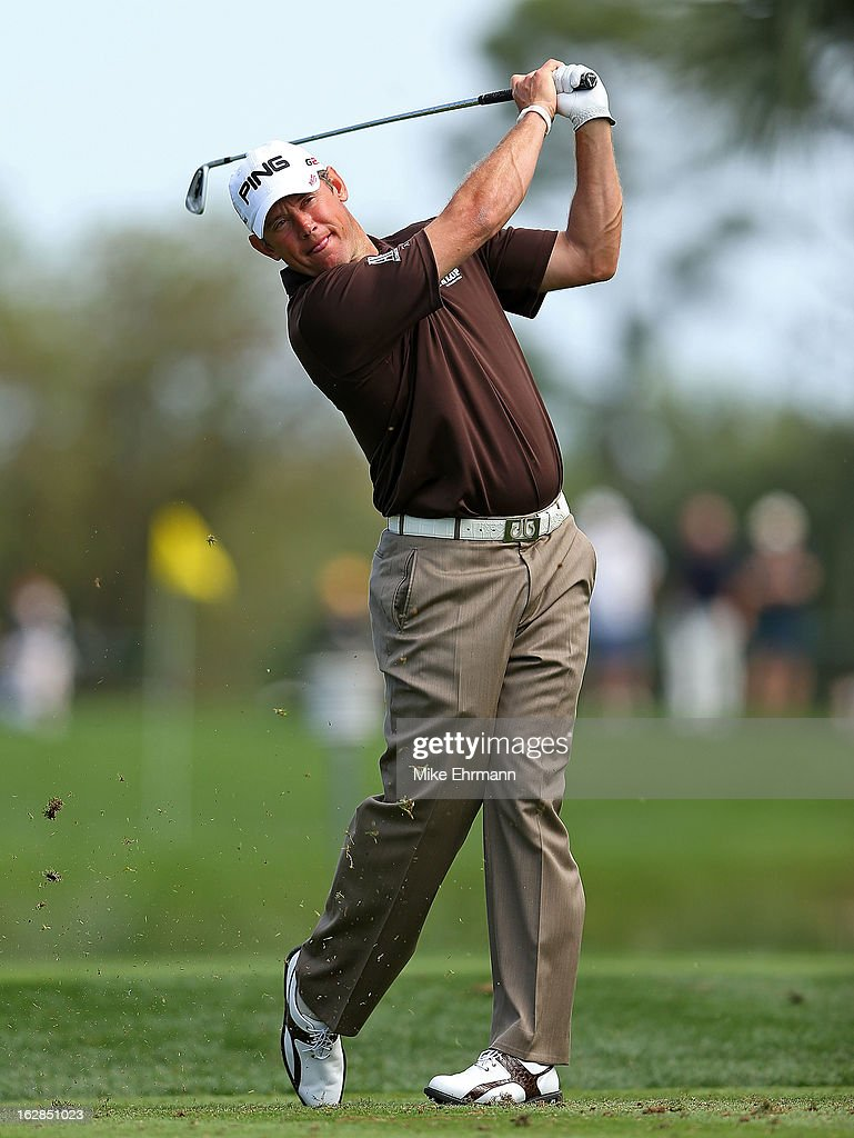 Lee Westwood of Englan hits his tee shot on the fifth hole during the first round of the Honda Classic at PGA National Resort and Spa on February 28, 2013 in Palm Beach Gardens, Florida.