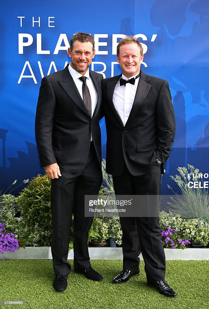 Lee Westwood of England and Jamie Donaldson of Wales attend the European Tour Players' Awards ahead of the BMW PGA Championship at the Sofitel London...