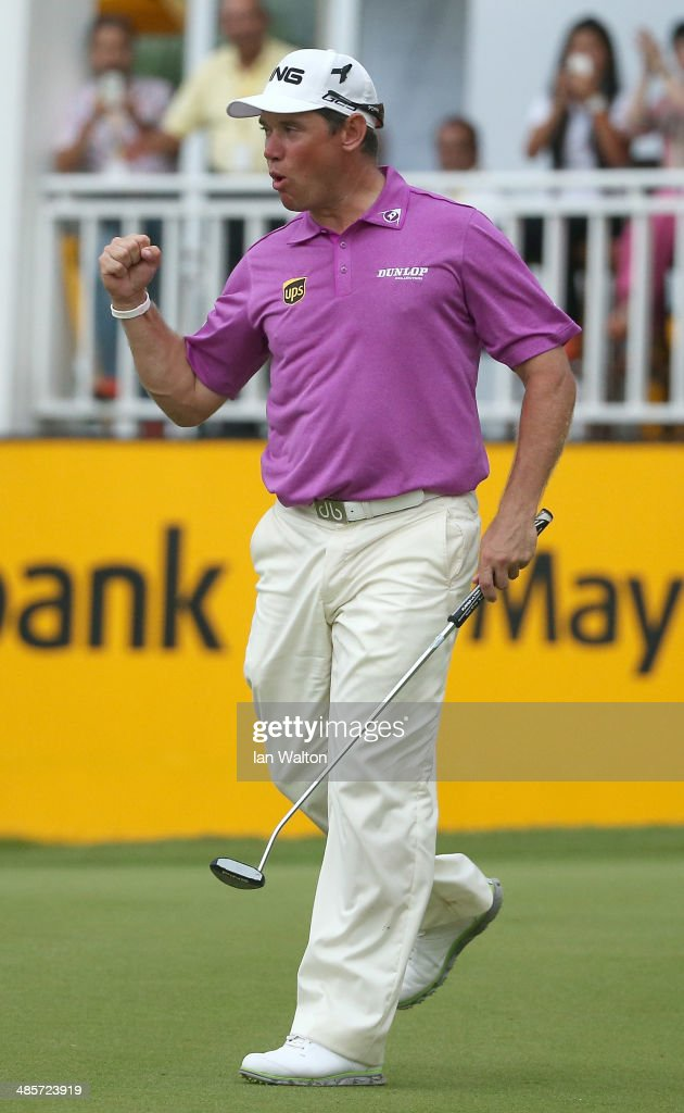 Lee Westwood of England celebrates after winning the Final round of the 2014 Maybank Malaysian Open at Kuala Lumpur Golf & Country Club on April 20, 2014 in Kuala Lumpur, Malaysia.