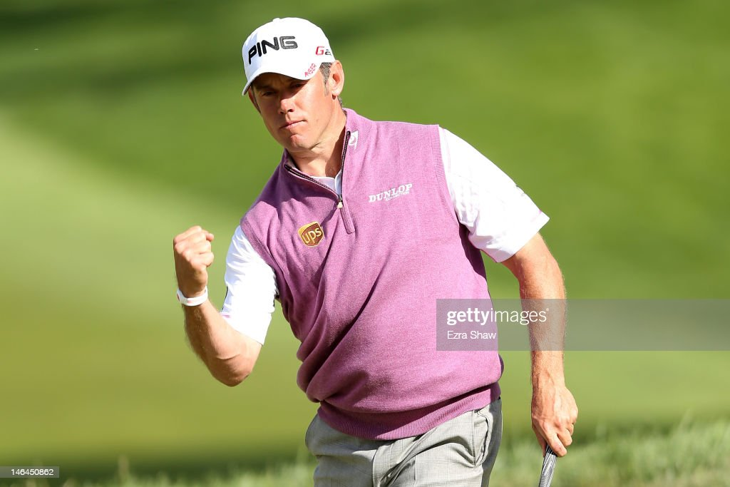 Lee Westwood of England celebrates his birdie putt on the 18th hole during the third round of the 112th US Open at The Olympic Club on June 16 2012...