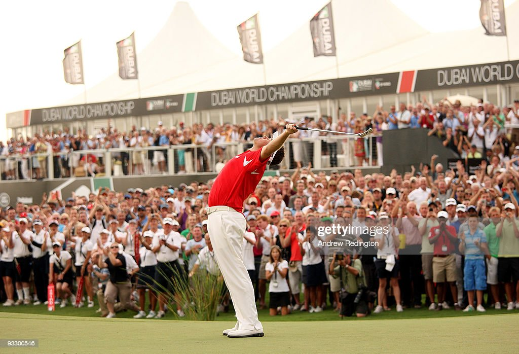 Lee Westwood of England celebrates on the 18th green after winning the Dubai World Championship and the Race To Dubai on the Earth Course Jumeirah...