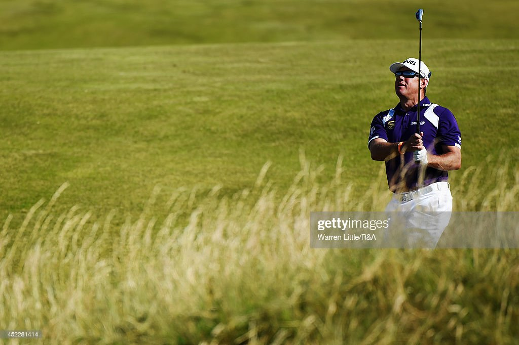 <a gi-track='captionPersonalityLinkClicked' href=/galleries/search?phrase=Lee+Westwood&family=editorial&specificpeople=171611 ng-click='$event.stopPropagation()'>Lee Westwood</a> of England chips to the 11th green during the first round of The 143rd Open Championship at Royal Liverpool on July 17, 2014 in Hoylake, England.