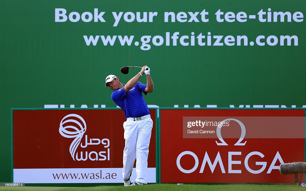 Lee Westwood of England during the final round of the 2013 Omega Dubai Desert Classic on the Majilis Course at the Emirates Golf Club on February 3, 2013 in Dubai, United Arab Emirates.