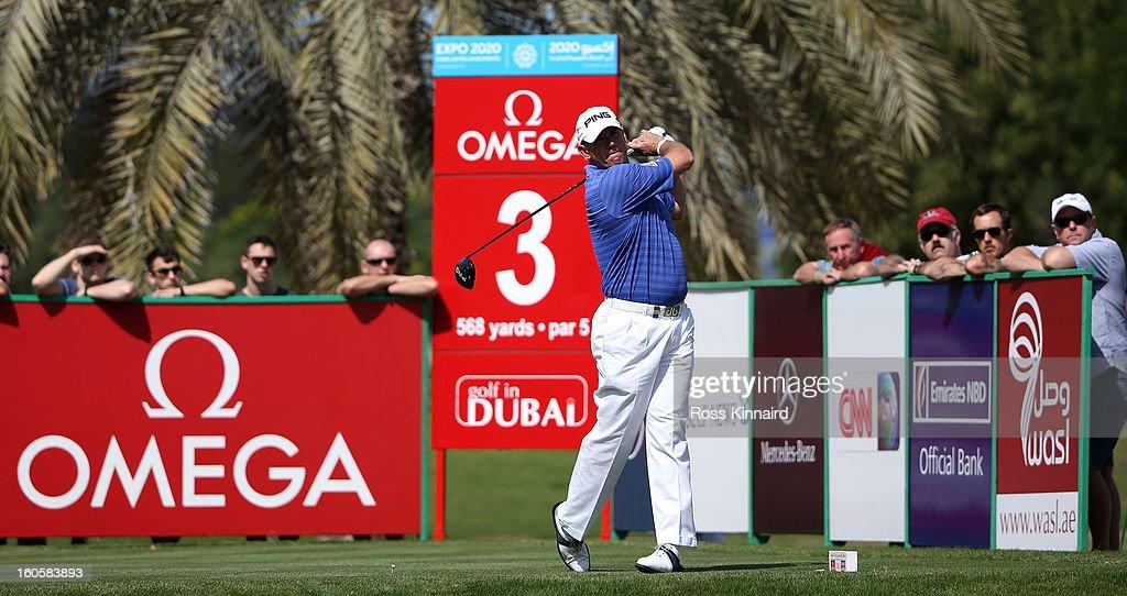 Lee Westwood of England during the final round of the Omega Dubai Desert Classic on February 3, 2013 in Dubai, United Arab Emirates.