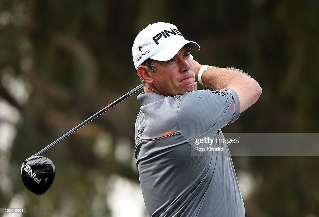 Lee Westwood of England during the first round of the Omega Dubai Desert Classic on January 31, 2013 in Dubai, United Arab Emirates.