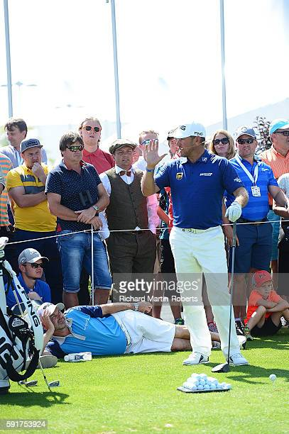 Lee Westwood of England gives a golf skills clinic for fans during the first round of the DD REAL Czech Masters at Albatross Golf Resort on August 18...