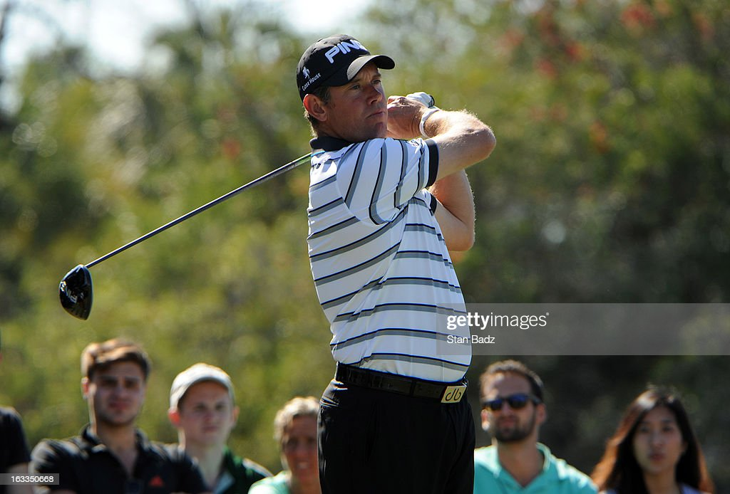 Lee Westwood of England hits a drive on the fifth hole during the first round of the World Golf Championships-Cadillac Championship at TPC Blue Monster at Doral on March 7, 2013 in Doral, Florida.