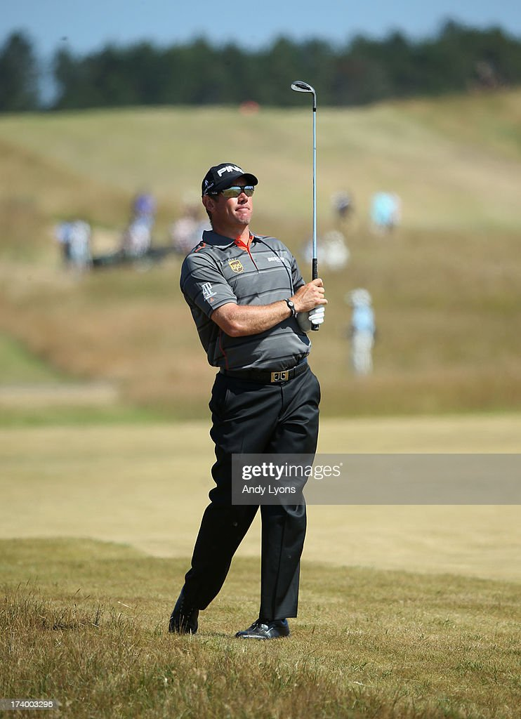 Lee Westwood of England hits a shot on the 14th during the second round of the 142nd Open Championship at Muirfield on July 19, 2013 in Gullane, Scotland.