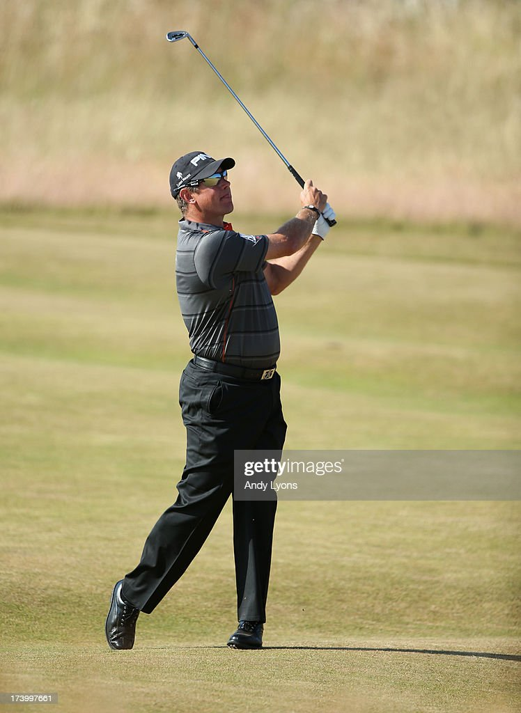 Lee Westwood of England hits a shot on the 2nd hole during the second round of the 142nd Open Championship at Muirfield on July 19, 2013 in Gullane, Scotland.