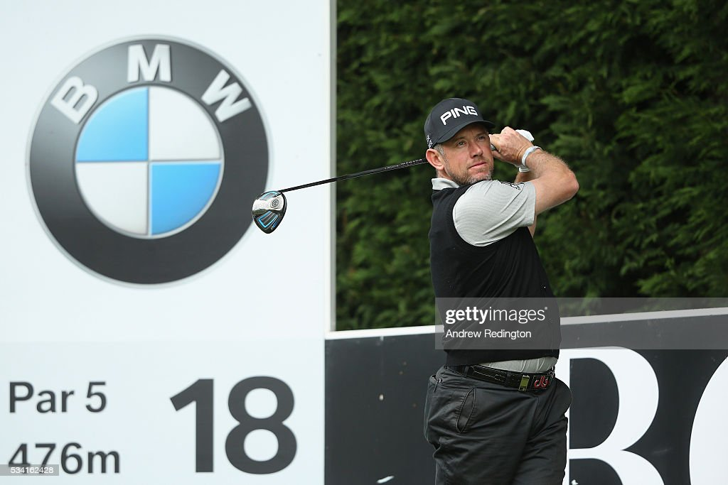 <a gi-track='captionPersonalityLinkClicked' href=/galleries/search?phrase=Lee+Westwood&family=editorial&specificpeople=171611 ng-click='$event.stopPropagation()'>Lee Westwood</a> of England hits a tee shot during the Pro-Am prior to the BMW PGA Championship at Wentworth on May 25, 2016 in Virginia Water, England.