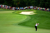 Lee Westwood of England hits an approach on the fifth hole during the second round of the 96th PGA Championship at Valhalla Golf Club on August 8...