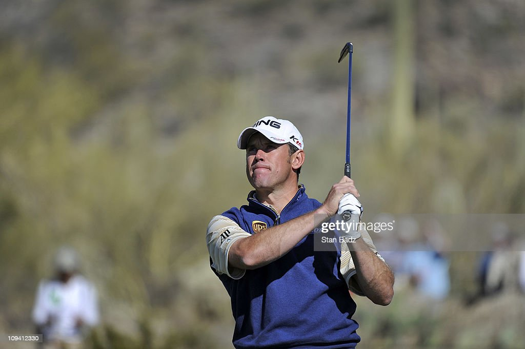 Lee Westwood of England hits from the 16th tee box during the second round of the World Golf Championships-Accenture Match Play Championship at The Ritz-Carlton Golf Club, Dove Mountain on February 24, 2011 in Marana, Arizona.
