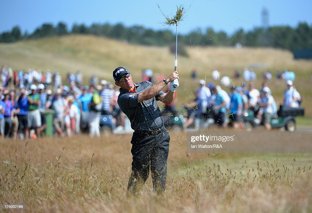 <a gi-track='captionPersonalityLinkClicked' href=/galleries/search?phrase=Lee+Westwood&family=editorial&specificpeople=171611 ng-click='$event.stopPropagation()'>Lee Westwood</a> of England hits his 2nd shot on the 14th hole during the second round of the 142nd Open Championship at Muirfield on July 19, 2013 in Gullane, Scotland.