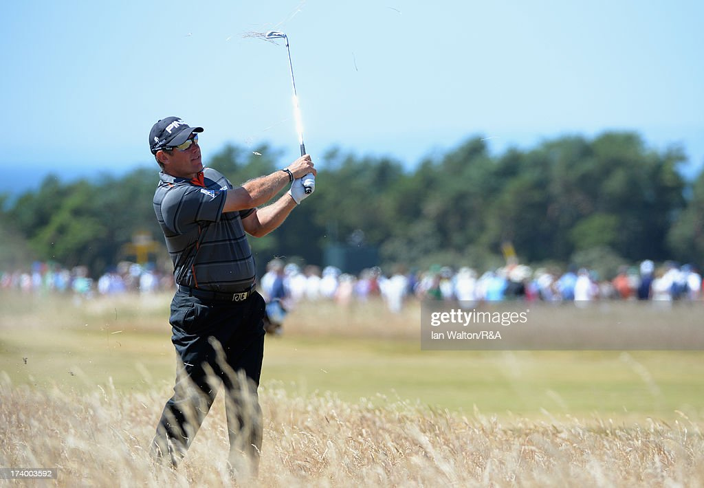 Lee Westwood of England hits his 2nd shot on the 17th hole during the second round of the 142nd Open Championship at Muirfield on July 19, 2013 in Gullane, Scotland.