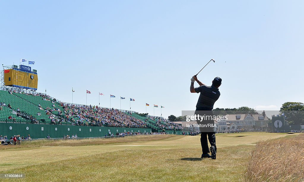 Lee Westwood of England hits his approach to the 18th green during the second round of the 142nd Open Championship at Muirfield on July 19, 2013 in Gullane, Scotland.