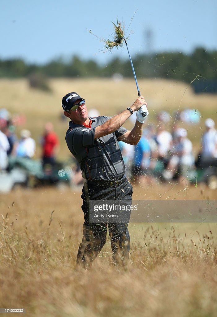 Lee Westwood of England hits his second shot on the 14th during the second round of the 142nd Open Championship at Muirfield on July 19, 2013 in Gullane, Scotland.