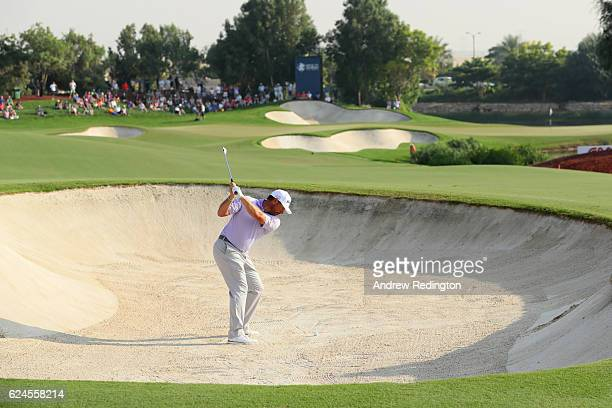Lee Westwood of England hits his second shot on the 16th hole during day four of the DP World Tour Championship at Jumeirah Golf Estates on November...