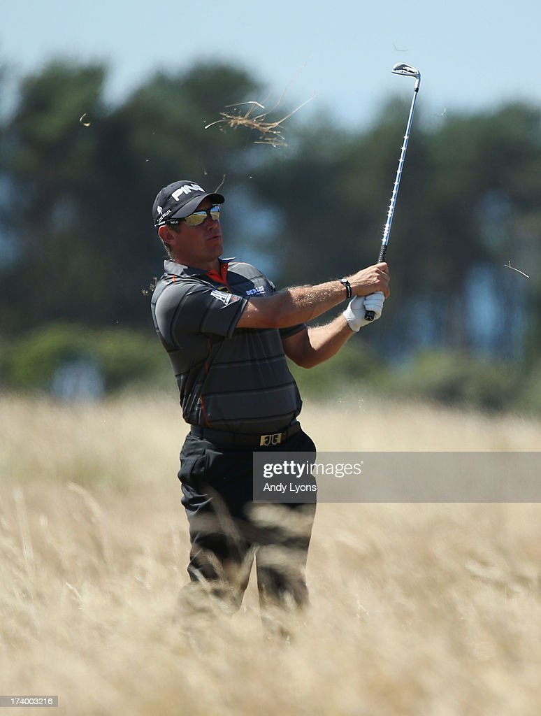 Lee Westwood of England hits his second shot on the 17th during the second round of the 142nd Open Championship at Muirfield on July 19, 2013 in Gullane, Scotland.