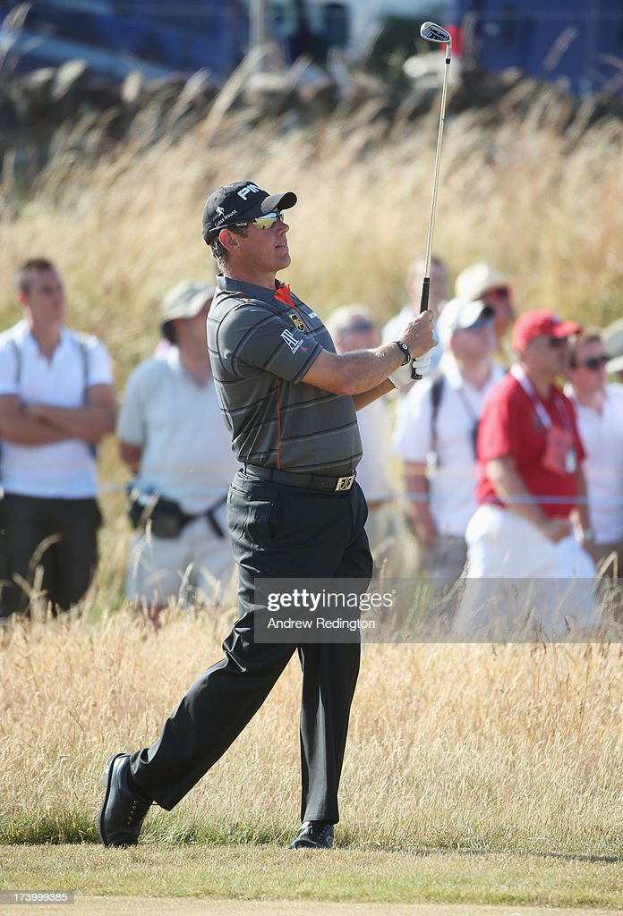 Lee Westwood of England hits his second shot on the 1st hole during the second round of the 142nd Open Championship at Muirfield on July 19, 2013 in Gullane, Scotland.