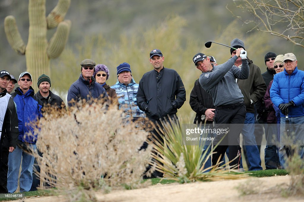 Lee Westwood of ENgland hits his second shot on the second hole during the first round of the World Golf Championships - Accenture Match Play at the Golf Club at Dove Mountain on February 20, 2013 in Marana, Arizona.