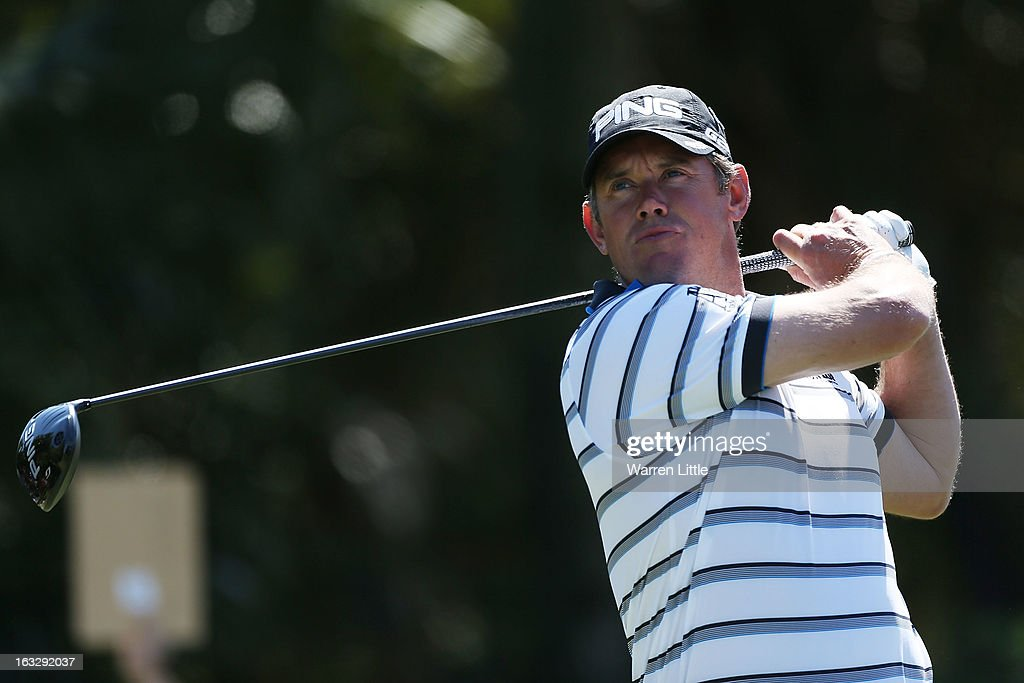 Lee Westwood of England hits his tee shot on the 12th hole during the first round of the WGC-Cadillac Championship at the Trump Doral Golf Resort & Spa in Miami, Florida.